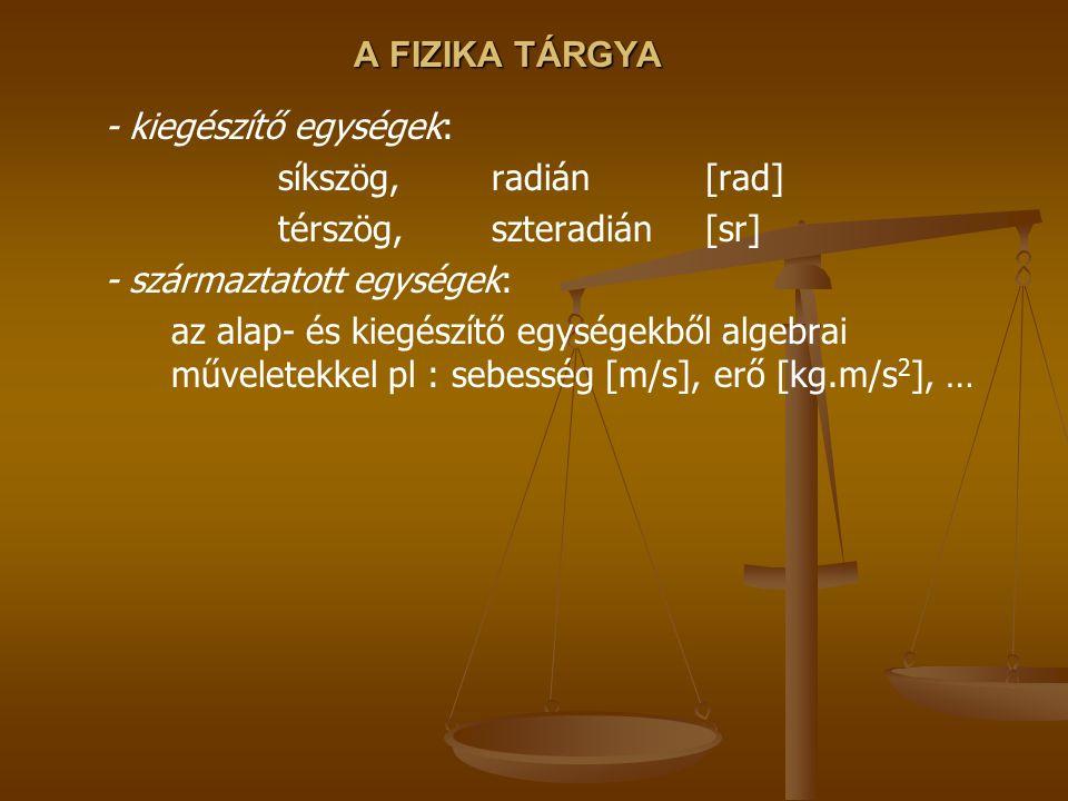 A FIZIKA TÁRGYA - kiegészítő egységek: síkszög, radián [rad] térszög, szteradián [sr] - származtatott egységek: